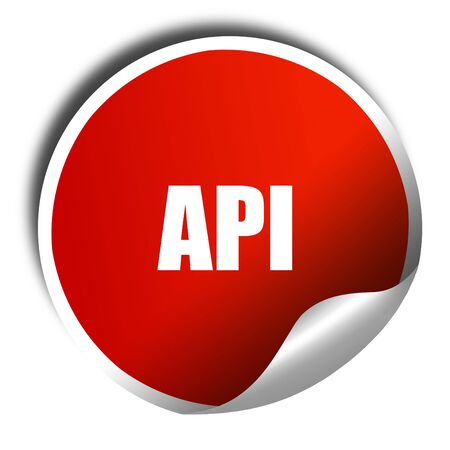 api: api, 3D rendering, red sticker with white text
