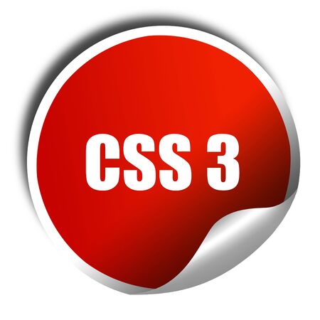 css: css 3, 3D rendering, red sticker with white text