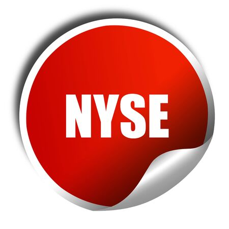 nyse: nyse, 3D rendering, red sticker with white text