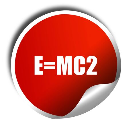 mc2: e=mc2, 3D rendering, red sticker with white text Stock Photo