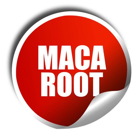 maca root: maca root, 3D rendering, red sticker with white text