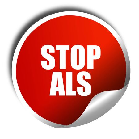 als: stop als, 3D rendering, red sticker with white text
