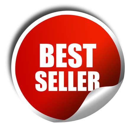 seller: best seller, 3D rendering, red sticker with white text Stock Photo