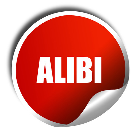 juror: alibi, 3D rendering, red sticker with white text