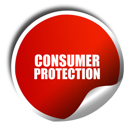 western script: consumer protection, 3D rendering, red sticker with white text