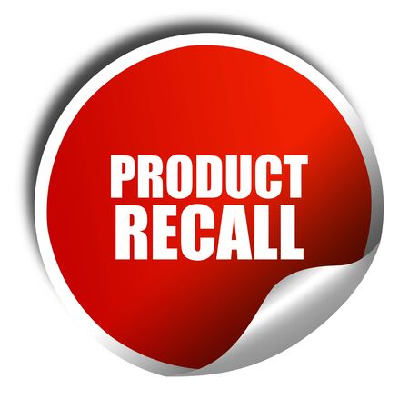 recall: product recall, 3D rendering, red sticker with white text Stock Photo