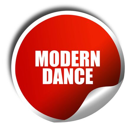 3d dance: modern dance, 3D rendering, red sticker with white text