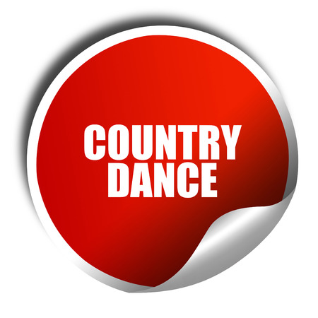 3d dance: country dance, 3D rendering, red sticker with white text