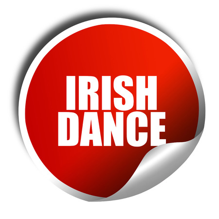 triskel: irish dance, 3D rendering, red sticker with white text Stock Photo