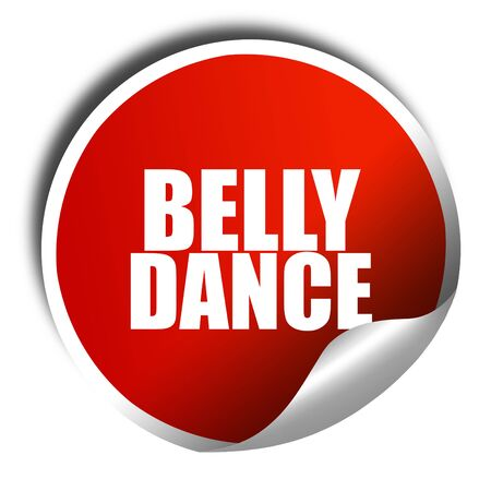 3d dance: belly dance, 3D rendering, red sticker with white text