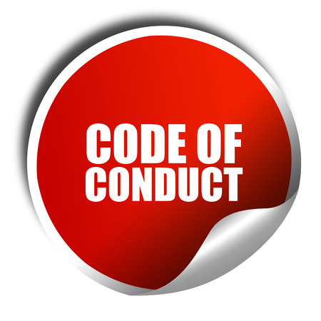 conduct: code of conduct, 3D rendering, red sticker with white text