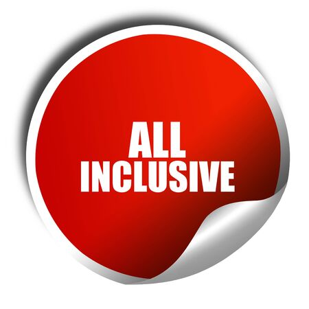 all weather: all inclusive, 3D rendering, red sticker with white text