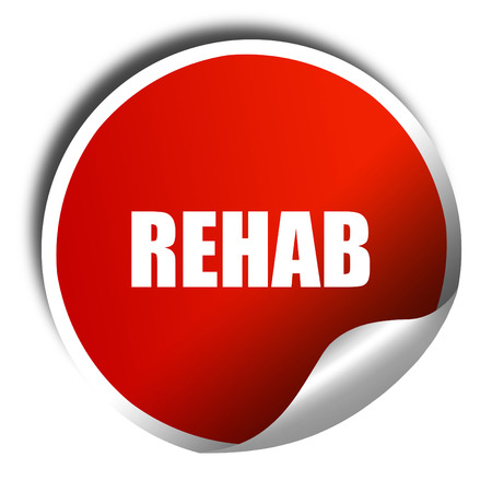 rehab: rehab, 3D rendering, red sticker with white text