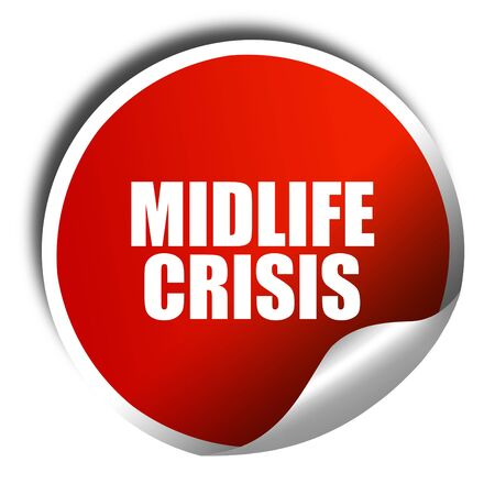 midlife: midlife crisis, 3D rendering, red sticker with white text Stock Photo