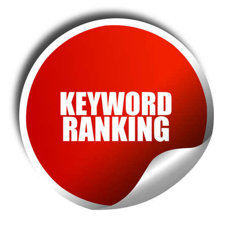 keyword: keyword ranking, 3D rendering, red sticker with white text Stock Photo