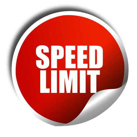 speed limit: speed limit, 3D rendering, red sticker with white text