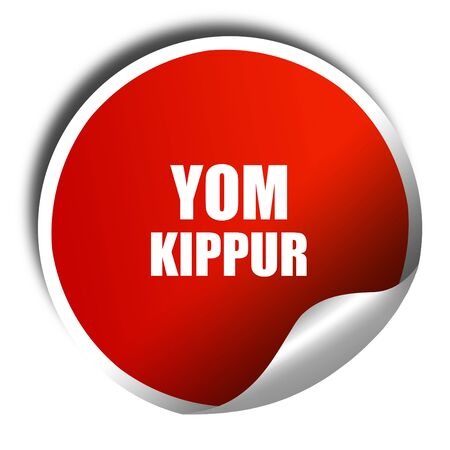 yom kippur: yom kippur, 3D rendering, red sticker with white text