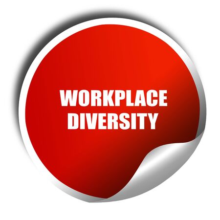 competitiveness: workplace diversity, 3D rendering, red sticker with white text Stock Photo