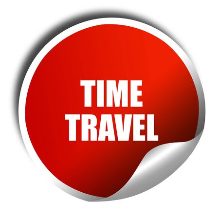 warp speed: time travel, 3D rendering, red sticker with white text