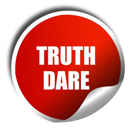 dare: truth or dare, 3D rendering, red sticker with white text