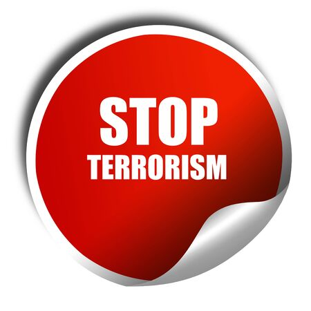 extremist: stop terrorism, 3D rendering, red sticker with white text