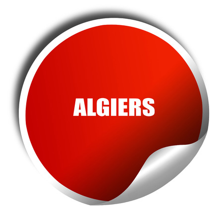 algiers: algiers, 3D rendering, red sticker with white text