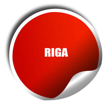 riga: riga, 3D rendering, red sticker with white text Stock Photo