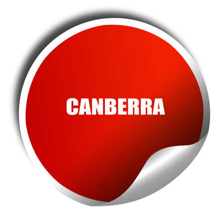 Canberra: canberra, 3D rendering, red sticker with white text