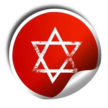 khanukah: Star of david with some soft flowing lines, 3D rendering, red sticker with white text