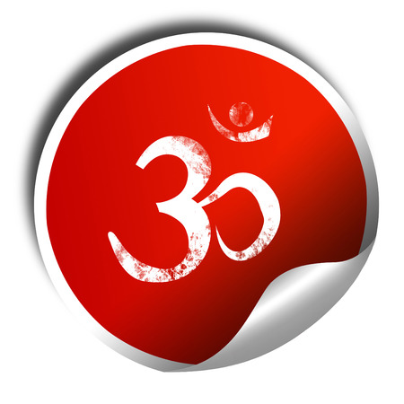 3d om: Om sign icon with some soft flowing smooth lines, 3D rendering, red sticker with white text