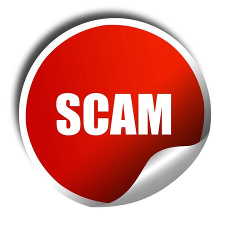 scamming: scam, 3D rendering, red sticker with white text
