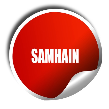 glowing carved: Traditional glowing Samhain Jack-o-Lantern with carved word Samhain on it. Pagan Wiccan Wheel of the Year holiday celebration., 3D rendering, red sticker with white text