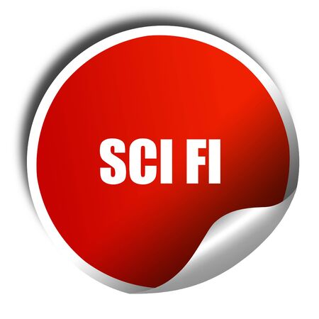 sci: sci fi, 3D rendering, red sticker with white text