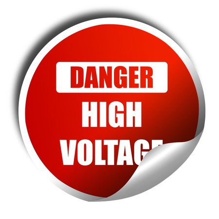 3d lightning: high voltage sign, 3D rendering, red sticker with white text Stock Photo