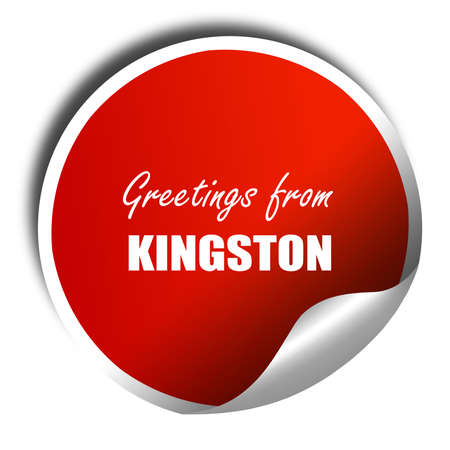 kingston: Greetings from kingston with some smooth lines, 3D rendering, red sticker with white text Stock Photo
