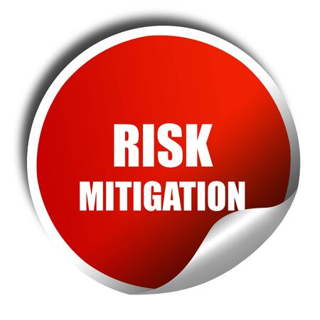mitigation: Risk mitigation sign with some smooth lines and highlights, 3D rendering, red sticker with white text Stock Photo