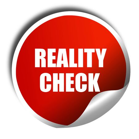 factual: reality check, 3D rendering, red sticker with white text