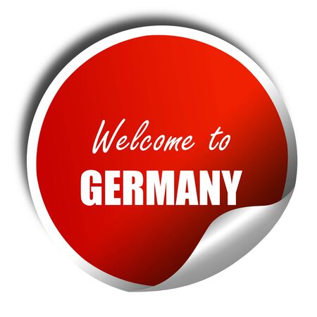 some: Welcome to germany card with some soft highlights, 3D rendering, red sticker with white text