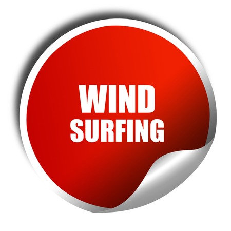 wind surfing: wind surfing sign background, 3D rendering, red sticker with white text