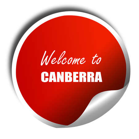 Canberra: Welcome to canberra with some smooth lines, 3D rendering, red sticker with white text Stock Photo