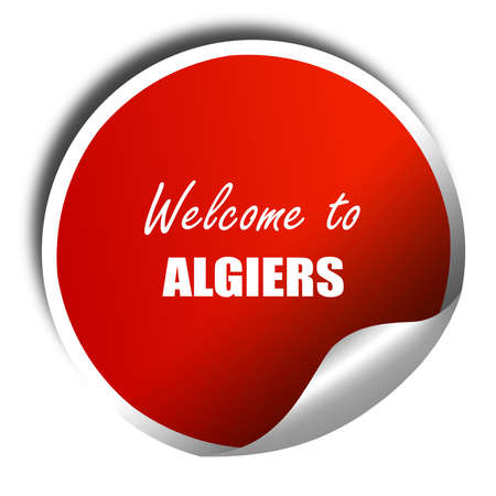 algiers: Welcome to algiers with some smooth lines, 3D rendering, red sticker with white text