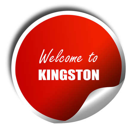 kingston: Welcome to kingston with some smooth lines, 3D rendering, red sticker with white text