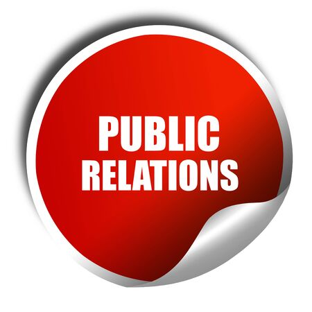 relaciones publicas: relaciones públicas, representación 3D, etiqueta engomada de color rojo con texto blanco