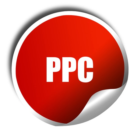 ppc, 3D rendering, red sticker with white text