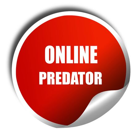 online predator background with some smooth lines, 3D rendering, red sticker with white text Stock Photo