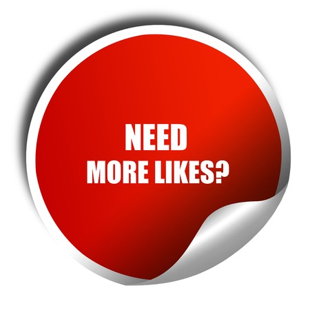 profile measurement: need more likes, 3D rendering, red sticker with white text Stock Photo