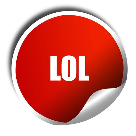 lol: lol internet slang, 3D rendering, red sticker with white text