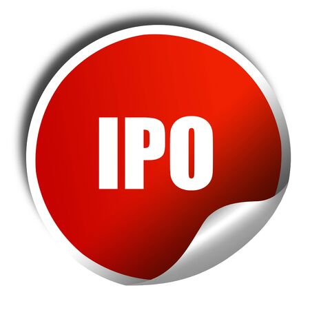 initial public offerings: ipo, 3D rendering, red sticker with white text Stock Photo