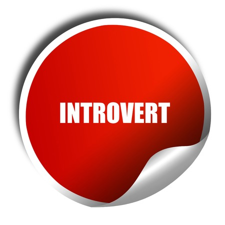 introvert: introvert, 3D rendering, red sticker with white text