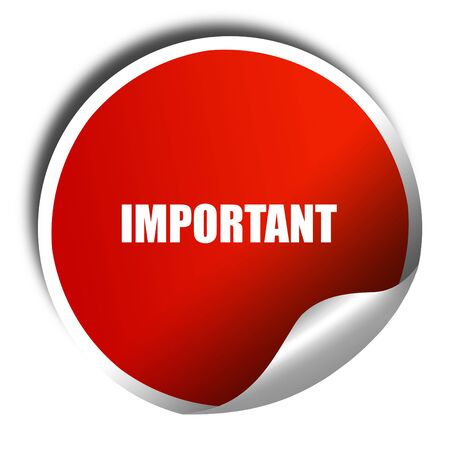 considerable: important sign background, 3D rendering, red sticker with white text Stock Photo